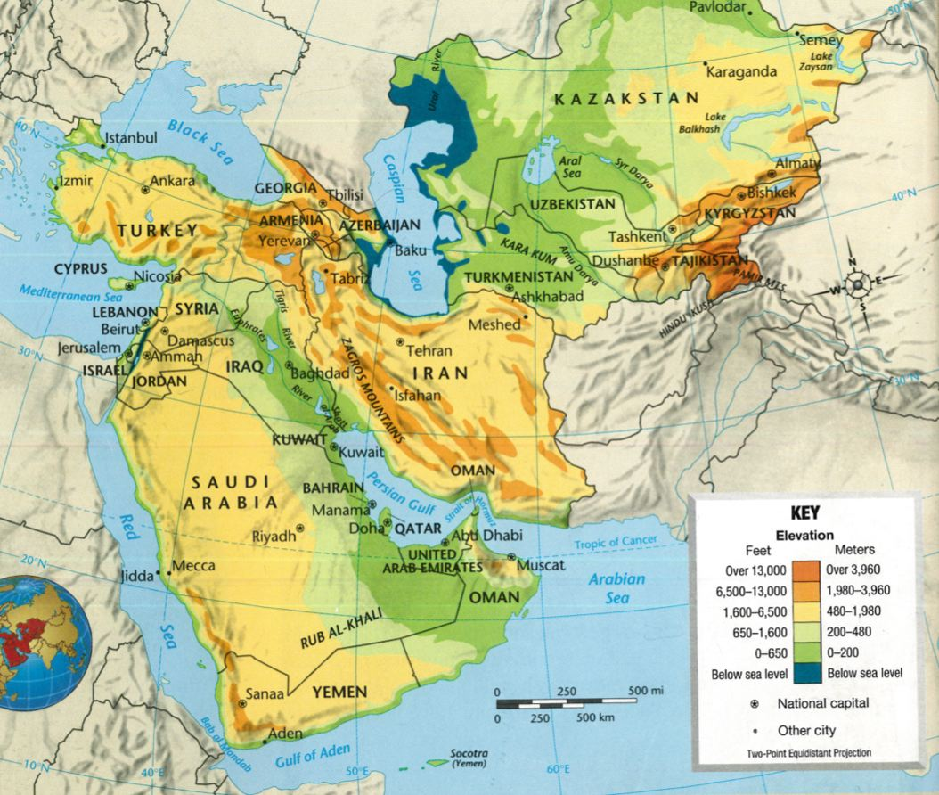 Southwest And Central Asia Physical Map 116